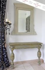 Antiker Kommoden Aufsatzspiegel, weiß