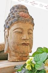 Buddhakopf, farbig gefasst