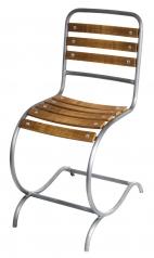 Garten-Stuhl, Stahlrohr, Eiche Massivholz