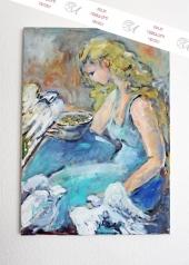 Gemälde, Mädchen mit Tauben