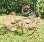 Sitzgruppe, Eisen, antik rotbraun